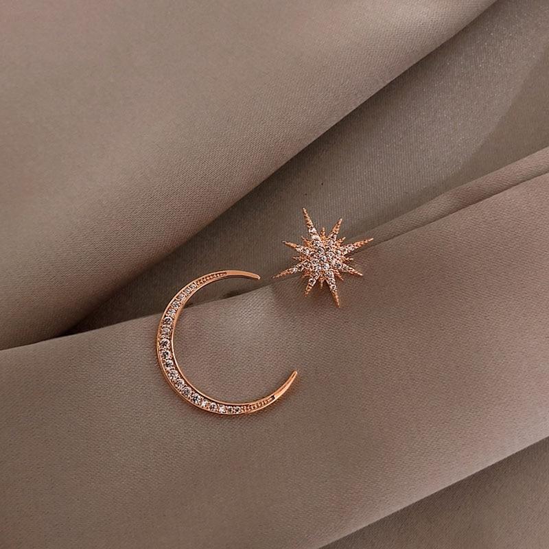 2020 New Star Moon Earrings Korean Version Asymmetrical High Sense Earrings Fashion Earrings Prevent Allergy Exquisite Ear Nail