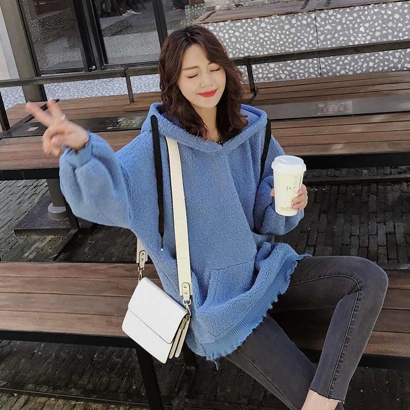 Пуш-шик Королевский синий просторный пуловер с капюшоном и рукавом-фонариком из овечьей шерсти свободного кроя с капюшоном Женское пальто-40
