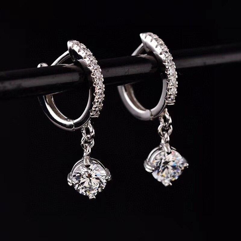 S925 boucles d'oreilles en argent Total 1.00ct D VVS boucles d'oreilles en argent bijoux petite amie cadeau amour boucles d'oreilles pour les femmes