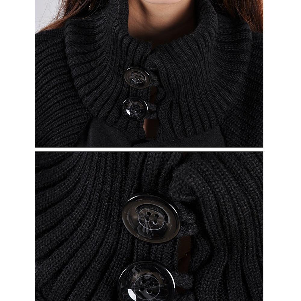 Autumn Winter Coat Women 2019 Casual Vintage Patchwork Cloak Plus Size Coats Female Elegant Warm Black Long Coat casaco feminino 13