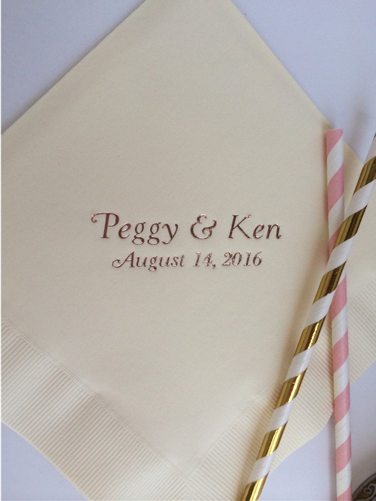 Custom text Beverage & Luncheon Avail! Personalized White Wedding Engagement Beverage Cocktail Dinner Guest Towel Paper Napkins