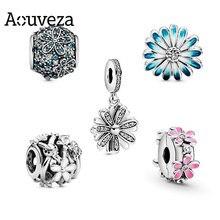 Aouveza primavera nova daisy flor série diy contas pingente caber pandora encantos originais pulseiras de prata para as mulheres moda jóias