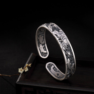 Image 3 - Real Pure 999 Sterling Silver Bangles Carved Fish and Lotus Hollow Design Cuff Bracelets for Women Luxury Jewelry