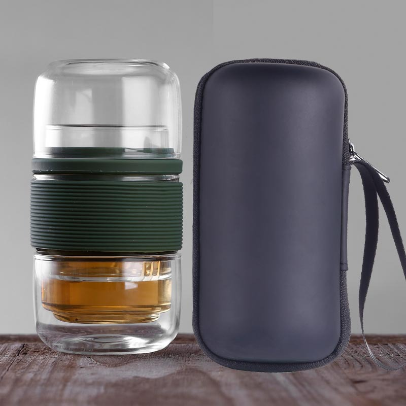 Outdoor travel easy carry Heat Resistant  tea glass cup with Tea Infuser Filter and tea bag 210407-09