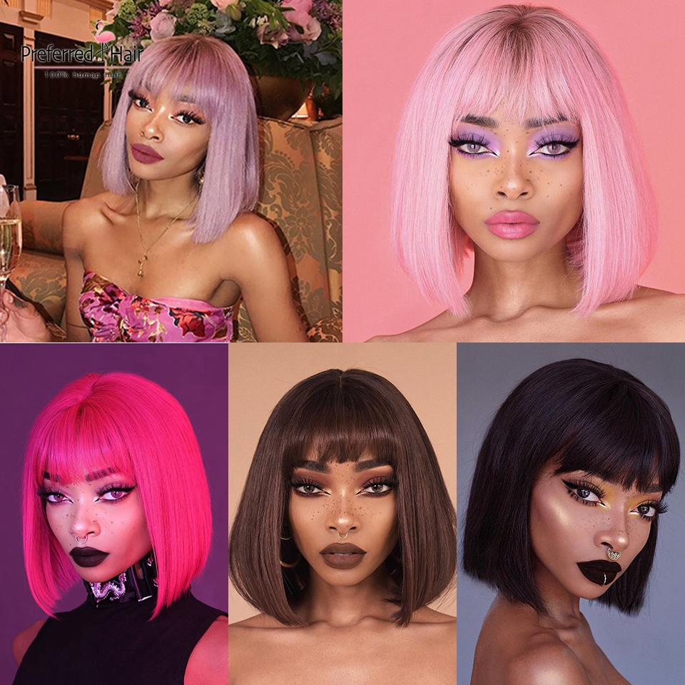 Preferred Lace Front Human Hair Wigs With Bangs Brazilian Remy Glueless Purple Brown Ombre Pink Short Bob Wigs For Black Women