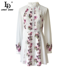 цены на LD LINDA DELLA Fashion Runway Autumn White Chiffon Dress Women's Long Sleeve Lace Floral Print Sweet Casual A-Line Short Dress  в интернет-магазинах
