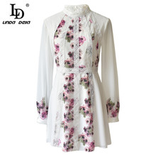 LD LINDA DELLA Fashion Runway Autumn White Chiffon Dress Women's Long Sleeve Lace Floral Print Sweet Casual A-Line Short Dress(China)