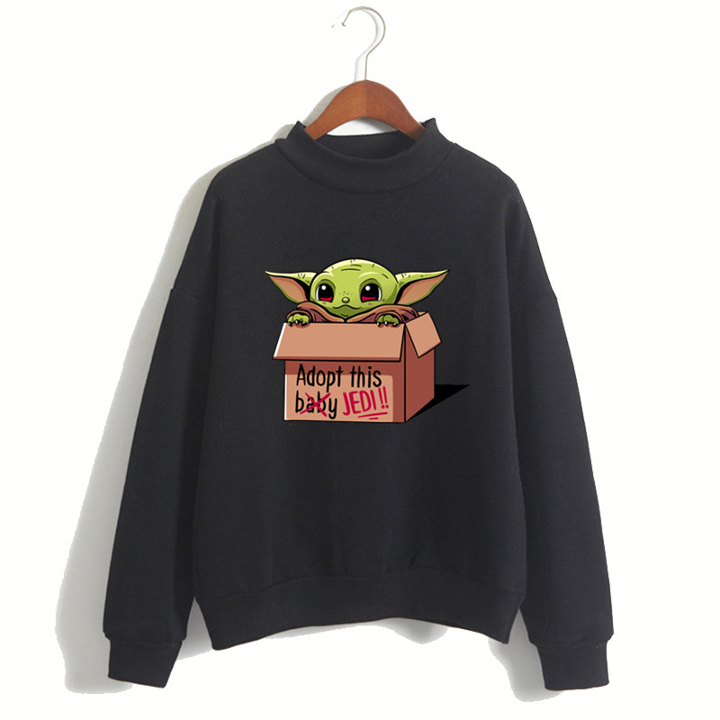 2020 New Women's Fashion The Mandalorian Child Baby Yoda Hoodie Girl Short Sleeve Sweatshirt Hipster Female Clothes