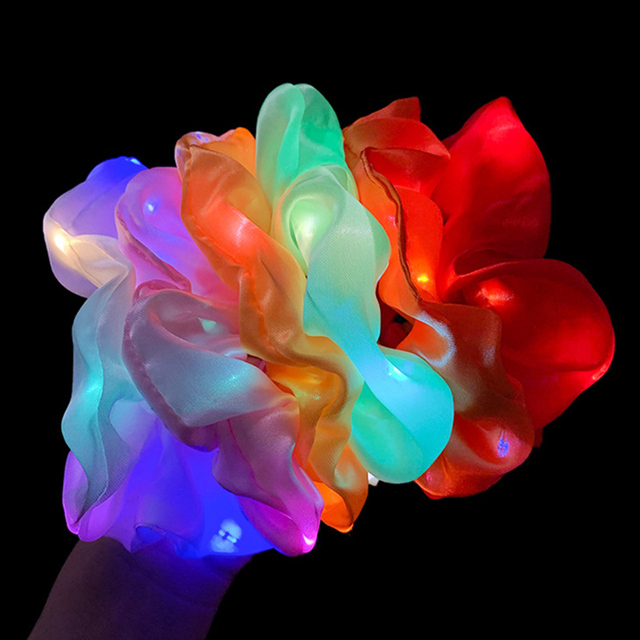 2020 New Arrival Girls LED Luminous Scrunchies Hairband Ponytail Holder Headwear Elastic Hair Bands Solid Color Hair Accessories 4