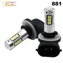 2pcs מתח גבוה DRL מנורות 6500K לבן 30SMD 4014 881 880 H27 LED החלפת נורות רכב ערפל אורות בשעתי יום אורות 12V