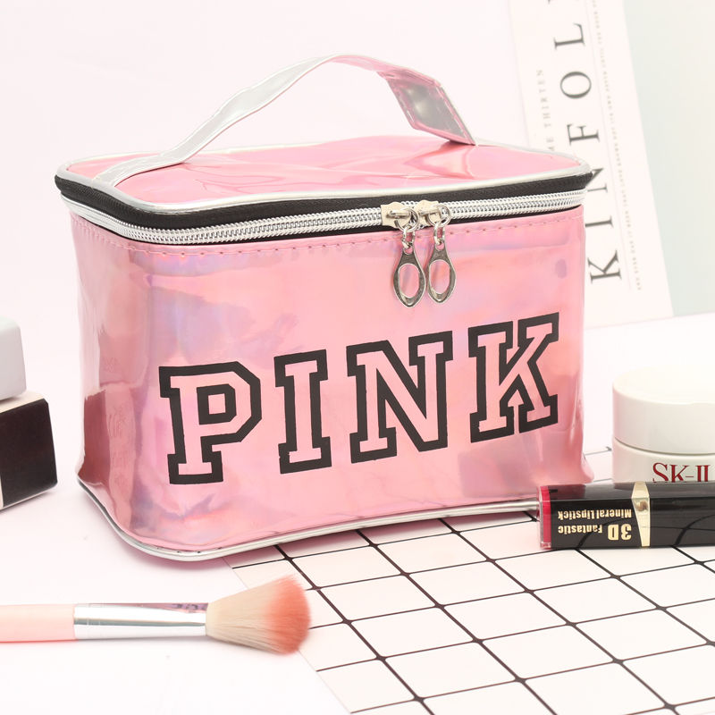 Girl Glitter Laser Pink Cosmetic Bag Makeup Bag Women Zipper Beauty Make Up Organizer Handbag Storage Case Pouches Toiletry Wash