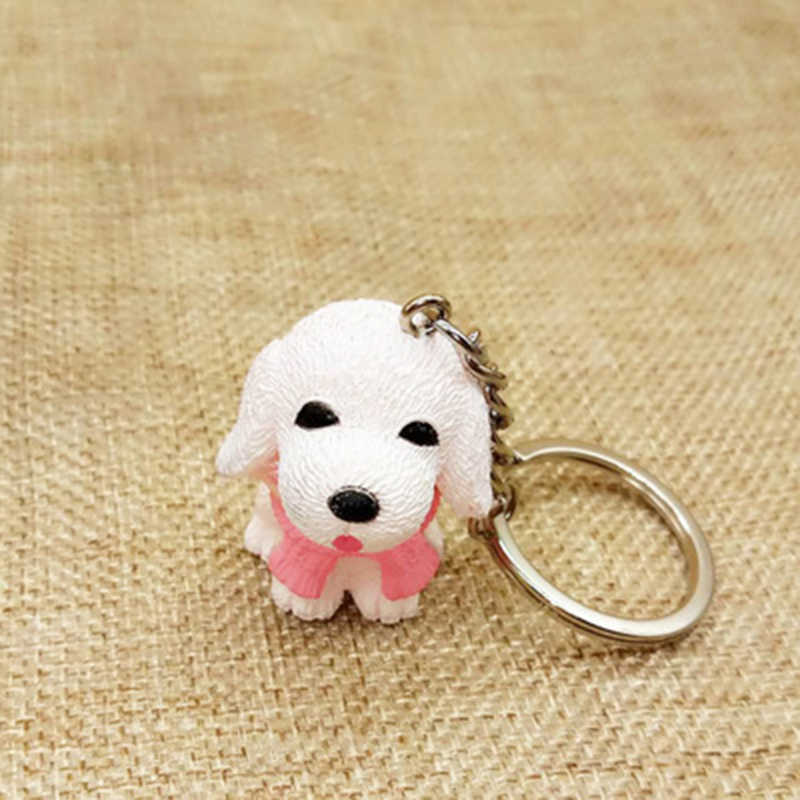 น่ารักเรซิ่นผ้าพันคอสุนัข Mini Key Chain แหวนแฟชั่นเครื่องประดับคุณภาพสูงคู่ Lover โซ่เพื่อนของขวัญ