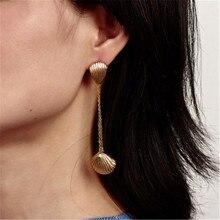 Women Female Vintage Long Dangle Drop Earrings Fashion Shell Tassel Geometric Metal Earrings Jewelry Wholesale-YR-W17