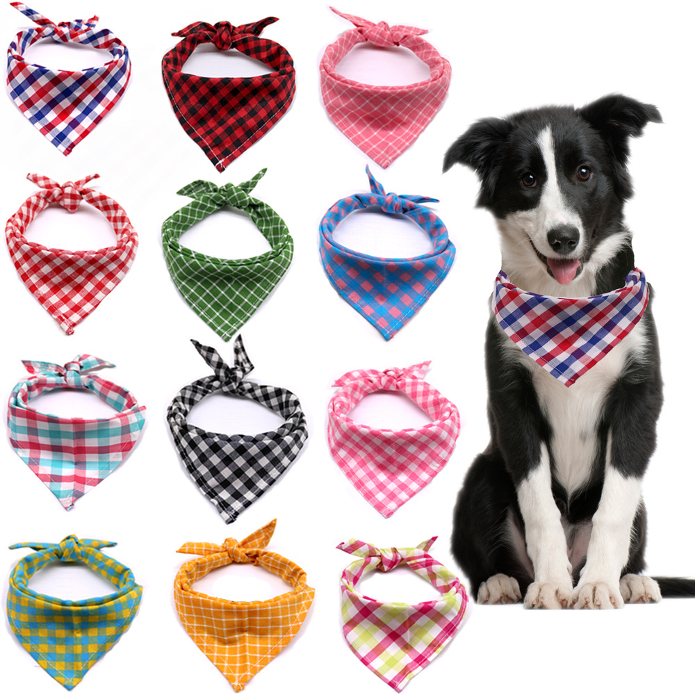 Собака Бандана; Маленькие и большие размеры нагрудники собака шарф моющийся уютные Хлопковые Штаны в клетку с принтом щенка платок галстук-...