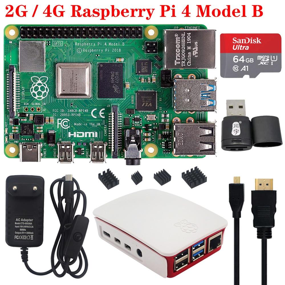 Original Raspberry Pi 4 2GB 4GB RAM With Power Supply Adapter ABS Case Enclosure Heat Sink Radiator For Raspberry Pi 4 Model B