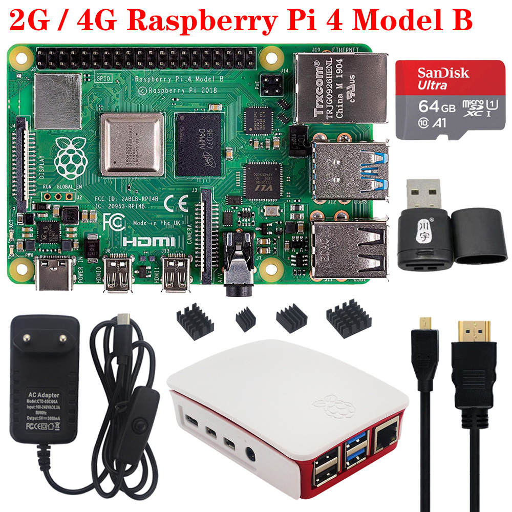 Original <font><b>Raspberry</b></font> <font><b>Pi</b></font> <font><b>4</b></font> <font><b>2GB</b></font> 4GB RAM with Power Supply Adapter ABS Case Enclosure Heat Sink Radiator for <font><b>Raspberry</b></font> <font><b>Pi</b></font> <font><b>4</b></font> <font><b>Model</b></font> <font><b>B</b></font> image