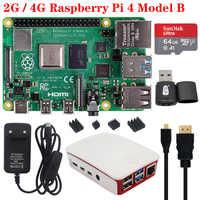 Oryginalny Raspberry Pi 4 2GB 4GB pamięci RAM z pamięcią adapter do zasilacza etui z abs obudowa Radiator chłodnicy dla Raspberry Pi 4 Model B