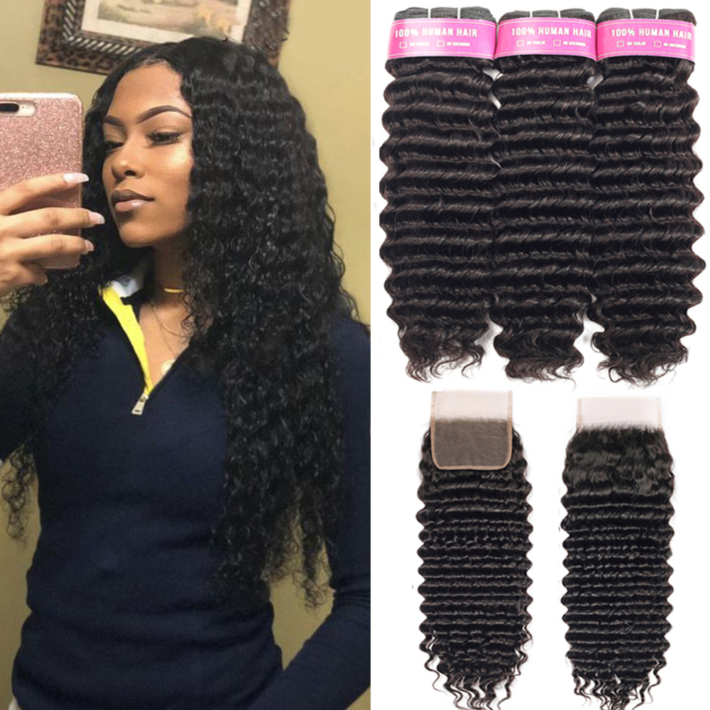 Brazilian Deep Wave Bundles With Closure Remy Human Hair 3 Bundles With Lace Closure Beaudiva Human Hair Extensions