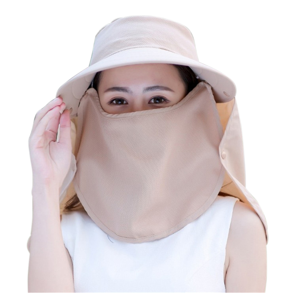 Women Face Cover Outdoor Wide Brim Sunshade Fishing Veil Riding Visor Anti-UV Sun Hat Neck Protection Adjustable Removable