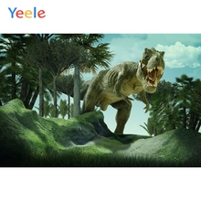 Yeele Dinosaur Backdrop Forest  Jungle Tree Grass Sky Kids Baby Birthday Custom Vinyl Photography Background For Photo Studio