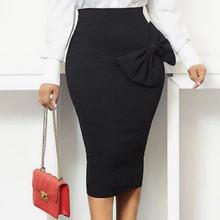 Женская обувь черного цвета с высокой талией юбки офисное платье