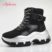 Aphixta Platform Boots Winter Snow Shoes Women Ankle Boots S