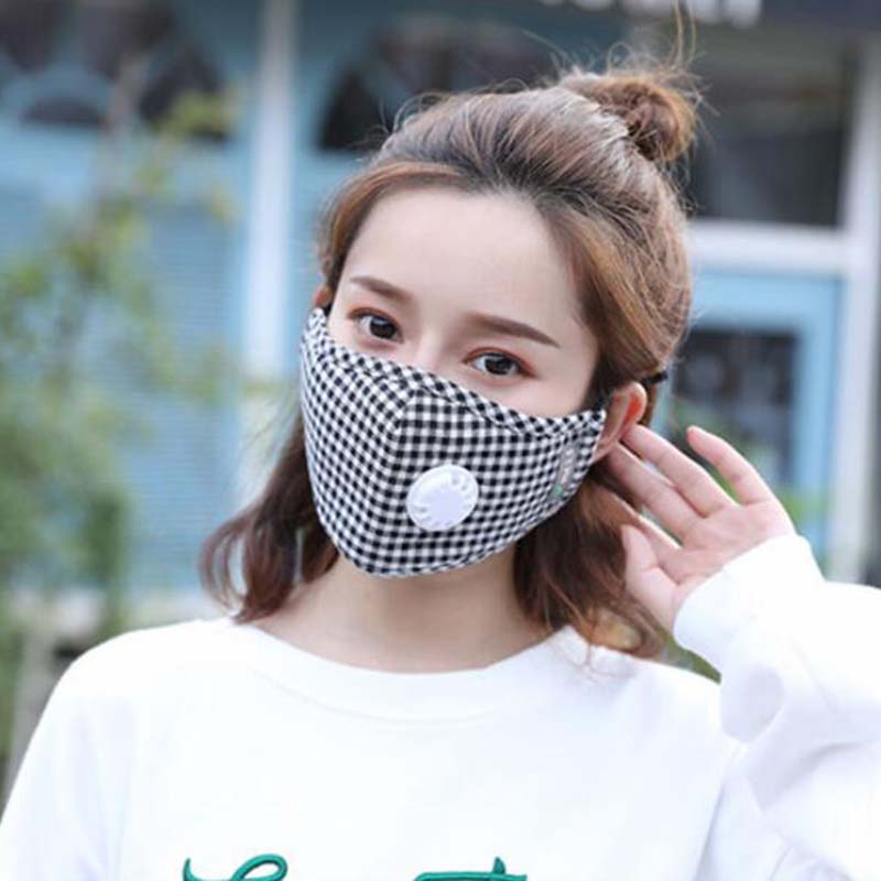 Fashion Cotton Plaid Mouth Masks Breath Valve PM2.5 Anti Dust 5-Layer Washable Mouth Mask Windproof Replaceable Filter