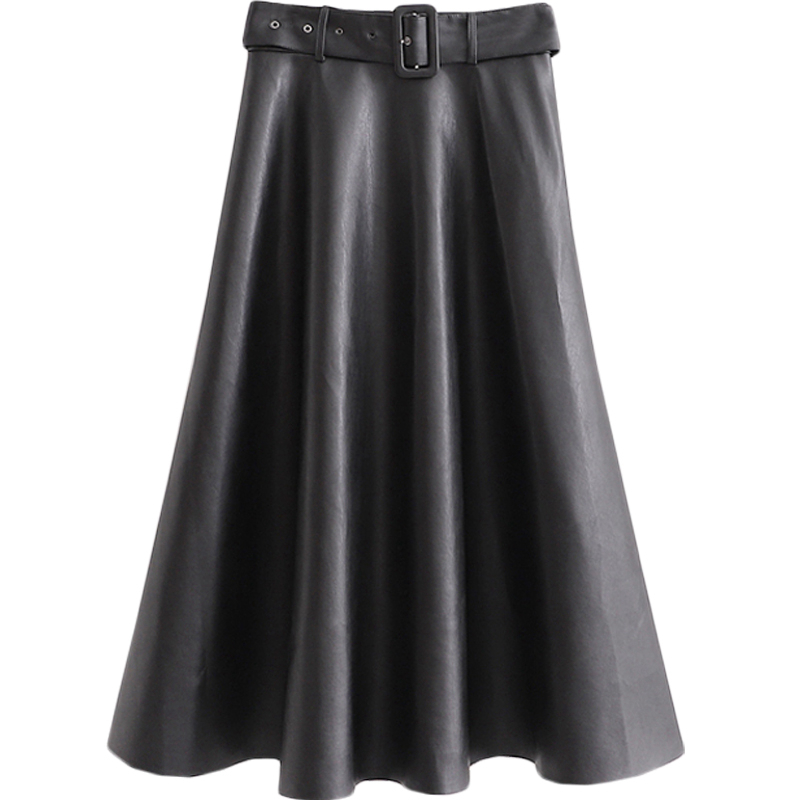 High Quality Pleated Black Plus Maxi Skirt Midi Long Elegant Black Skirts For Women Pu Leather Highwaist Skirt Plus Size II50BSQ