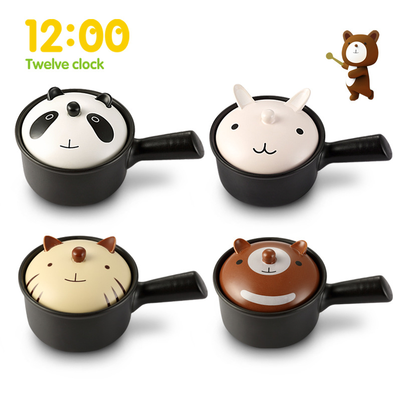 Ceramic Cartoon Animal Single Handle Baby Food Pot