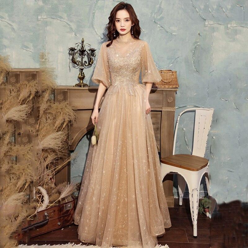 Женское вечернее платье с блестками и аппликацией, роскошное ТРАПЕЦИЕВИДНОЕ ПЛАТЬЕ до пола с высоким воротником и рукавом до локтя, на шнуровке, платье для вечеринки, A586