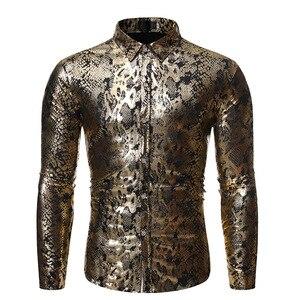 Image 3 - Sexy Snake Pattern Metallic Shirt Men 2019 Fashion New Slim Fit Long Sleeve Social Shirt Male Party Nightclub Prom Chemise Homme