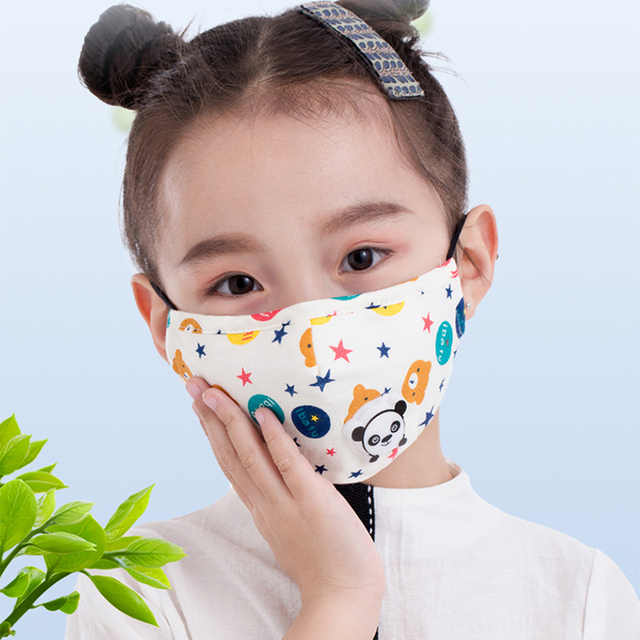 Cartoon 3-10 year old Kids mask PM2.5 Anti Haze Cotton Mask Breath valve anti-dust mouth mask Activated carbon filter respirator