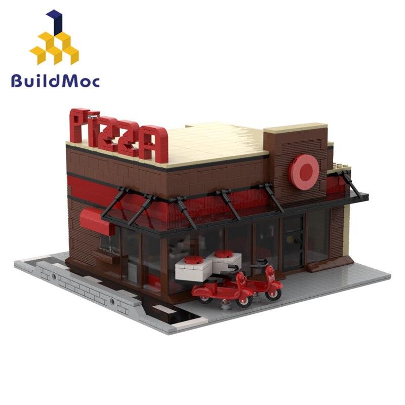 Arquitetura pizza blocos de construção criador especialista técnica cidade europeia piano showroom casa modular