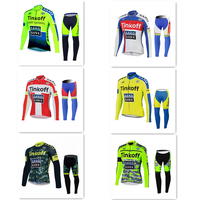 2019 Breathable Cycling Jersey Bike Clothing Long sleeve shirt bib pants Set mountain bike clothes TINKOFF SKY
