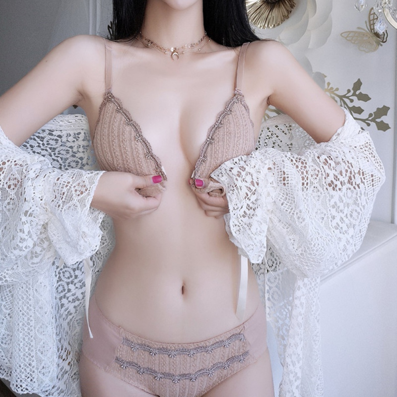Thin Sexy Lace <font><b>Bra</b></font> <font><b>Set</b></font> <font><b>Front</b></font> <font><b>Buckle</b></font> Triangle Cup Gathered On The Support No Steel Ring <font><b>Bra</b></font> <font><b>Set</b></font> Women Underwear +Panties image