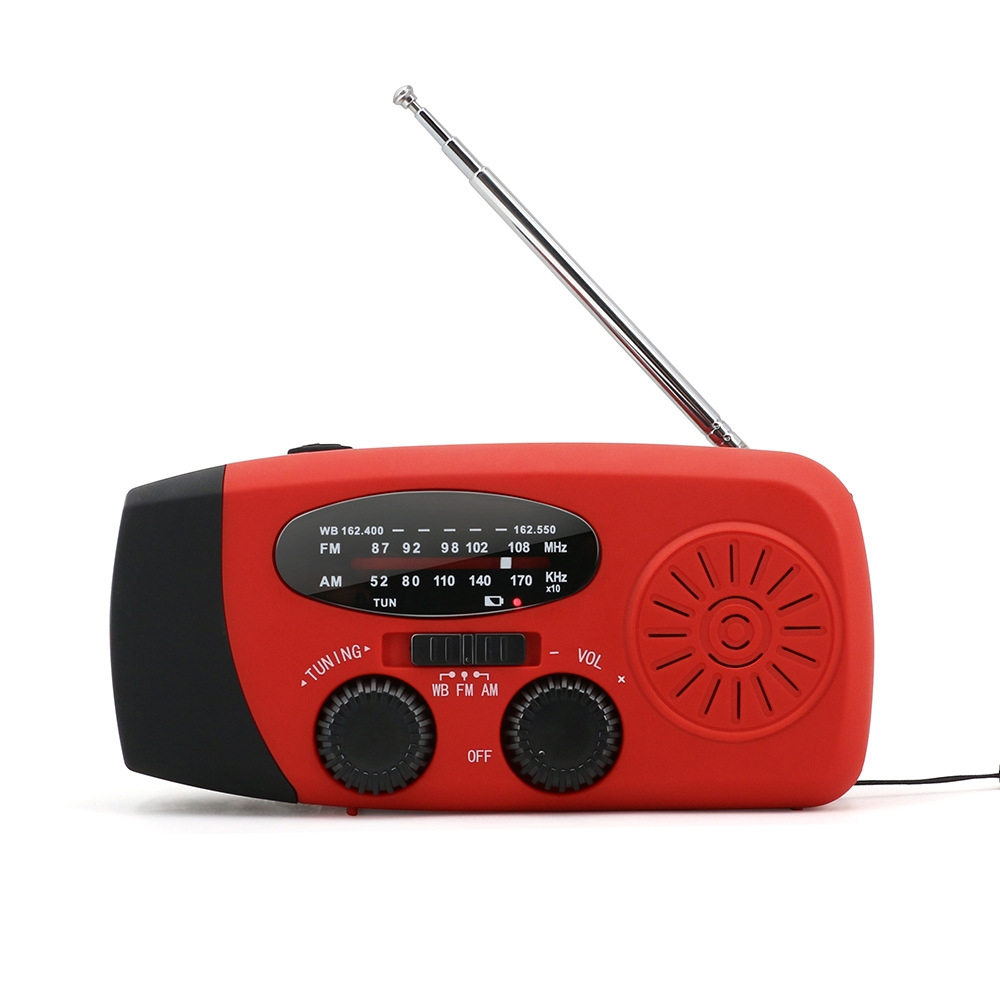 Multifunctional Hand Radio Solar Crank Dynamo Powered AM/FM/NOAA Music Radio Use Emergency LED Flashlight And Power Bank
