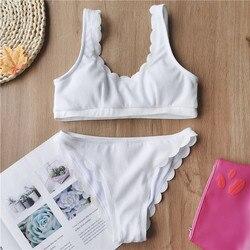 AGOUTI Sexy prążkowany kostium kąpielowy damski Bandeau bikini set 2020 solidny biały strój kąpielowy kobiety strój kąpielowy kąpiących strój kąpielowy nowy 5