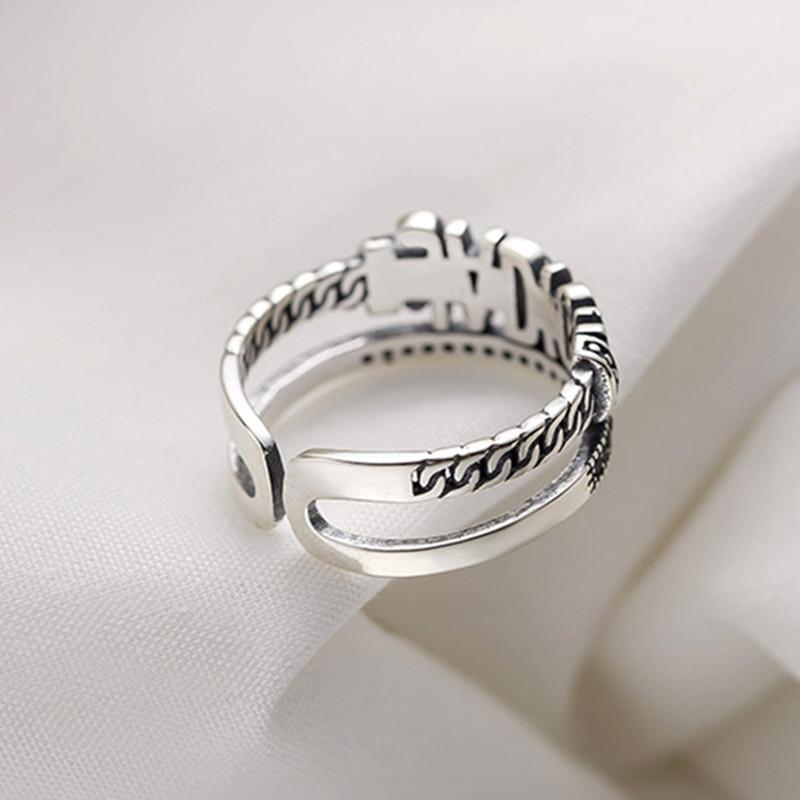 Винтаж Творческий модная детская рубашка с надписью палец открытие регулировочного кольца для женщин черный Цирконий двухслойные кольцо ювелирные изделия