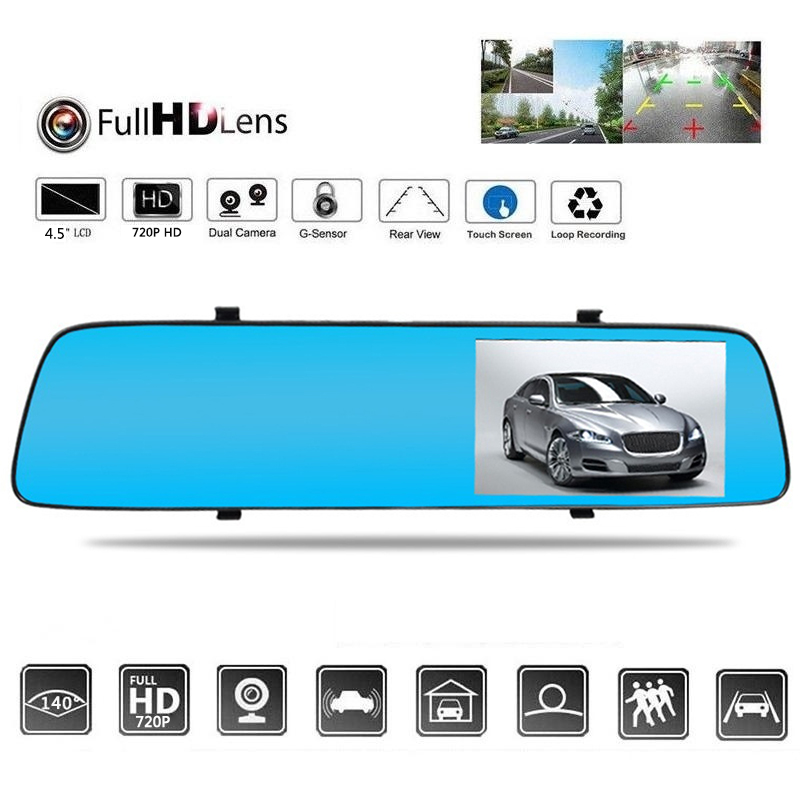 <font><b>2019</b></font> Car <font><b>Dash</b></font> <font><b>Cam</b></font> Universal Rear View Camera Car DVR <font><b>Mirror</b></font> Dual Lens Camera for Video Recorder Drop Shipping image