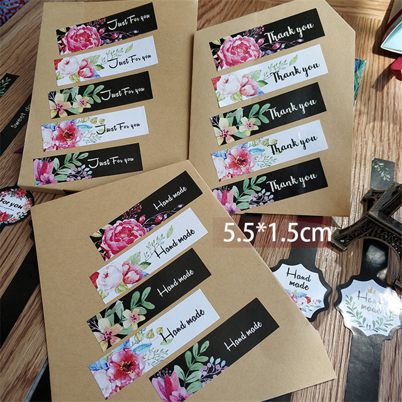 100pcs/80pcs/50pcs/lot Lovely For Gifts Girls Flowers Stickers Thank You Just For You Sealing Label Stickers