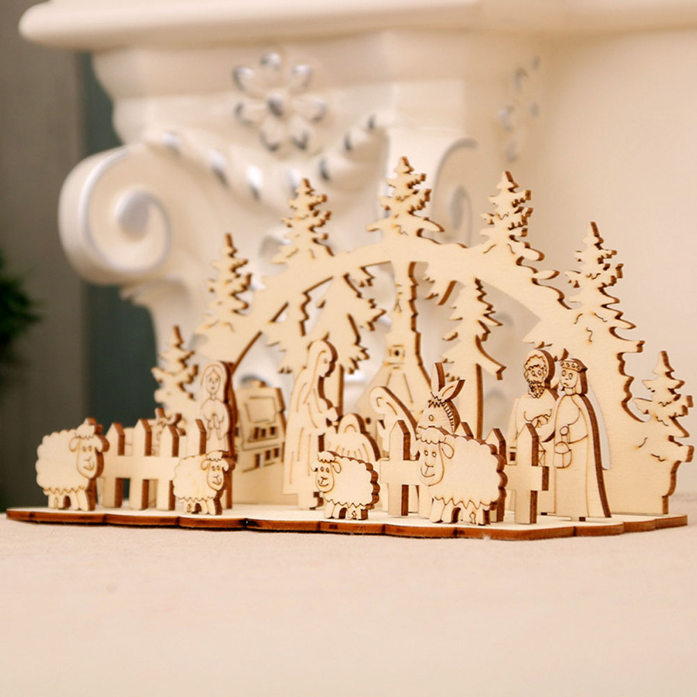 DIY Christmas Wooden Toy Xmas Funny Party Desktop Decoration Christmas Wooden Ornaments Three-dimensional Kids Toy Decoration 14