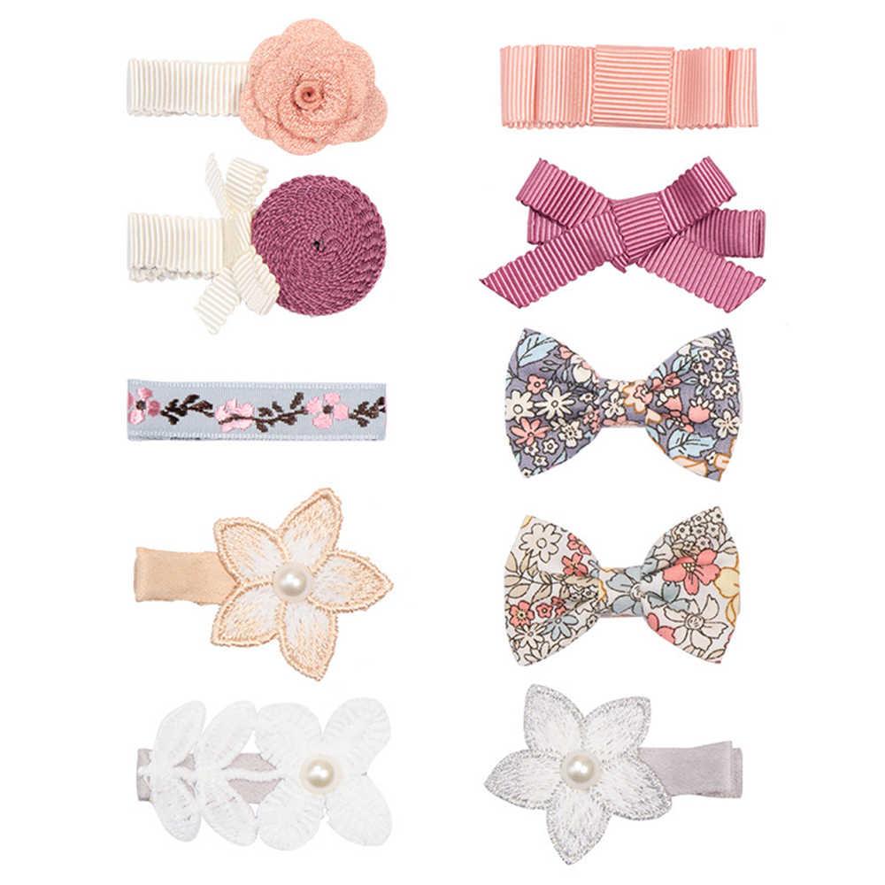 10 צבעים בייבי בנות הדפסת סיכת ראש מסוקס Bownot סיכת ראש חמוד תחרה פנינת פרח שיער שיער אביזרי לבוש הראש