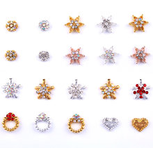 Сплав для ногтей хрустальные стразы 2 вида цветов золото/серебро