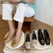 SUOJIALUN New 2019 Spring Fashion Womens Square Toe Metal Buckle Flat Shoes Soft Leather Shallow Mouth Woman Ballet Flats Loafe