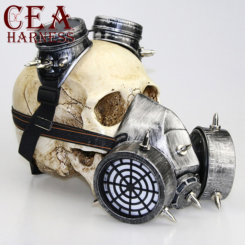 CEA.HARNESS Glasses Gas Masks Steampunk Punk Retro  Goggles Cosplay Props Gothic Anti-Fog Haze Adult Mask Anime Halloween Masks