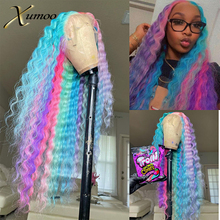 XUMOO Deep Wave Rainbow Lace Front Wig Unprocessed T Part Cheap Raw Brazilian Human Hair With Baby Hair For Cosplay Party Women