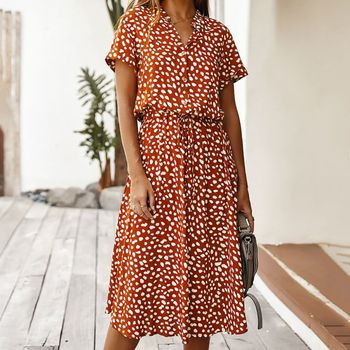 Sexy V-neck Summer Dress Women Vintage Casual  Polka Dot Print Short Sleeve Long Party Vestidos