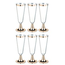 6Pcs Disposable Plastic Red Wine Glass Champagne Flutes Glasses Cocktail Party Wedding Drink Cup Christmas Western Cuisine Cup G(China)