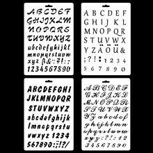 New 4Pcs Set A4 Alphabet English Letters DIY Layering Stencils Painting Scrapbook Coloring Embossing Album Decorative Template cheap F5805