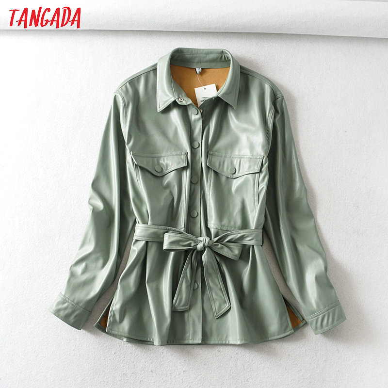 Tangada Women Light Green Faux Leather Jacket Coat With BeltLadies Long Sleeve Loose Oversize Boy Friend Coat 6A125